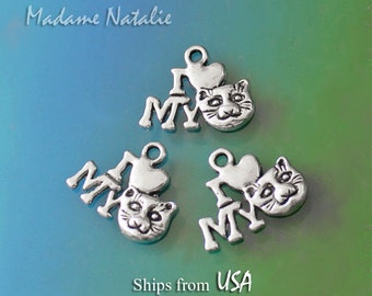 Cat Charms 14x17mm (10), I LOVE MY CAT Charms, Tibetan Silver Cat Charms, Small Cat Pendant, Cat Heart Love Charms, Cat Lover Charm