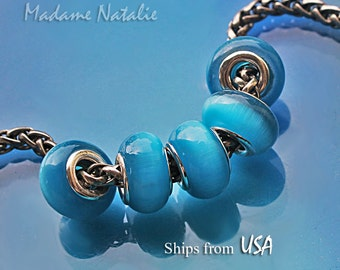 Cat's Eye Blue Big Hole Beads (5 pc), European Style Beads 5mm Hole, Turquoise Blue Cat's Eye Effect Glass Beads with Silver Tone Core