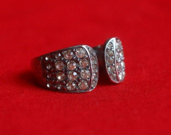 Antique silver and rhinestones ring