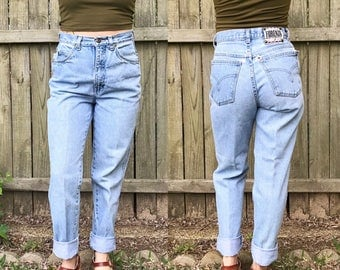 Vintage FORENZA Light Wash Ultra High Waisted Tapered Leg Skinny Jeans   XS   24   25   0