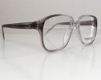 Gray Vintage Glasses, Grey Black Clear Ombre Oversized Hipster Eyeglass Frames, Antique Men's Square Eyeglasses, New Deadstock NOS 121