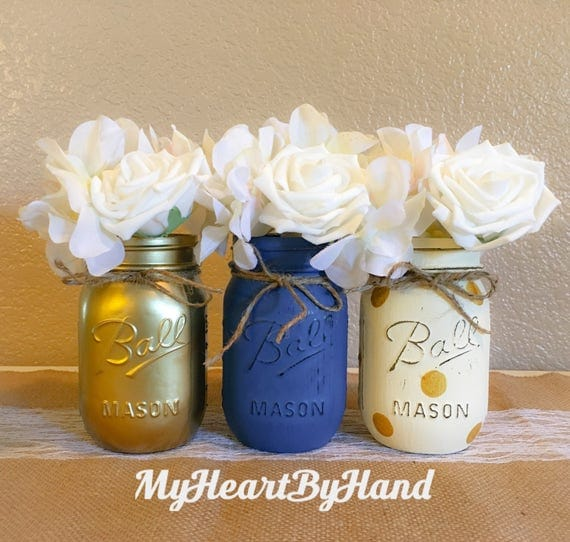Nautical Baby Shower Centerpiece Navy Blue Gold and Polka