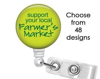 Carbon Footprint Badge Reel, ID Badge Holder clip, Medical Badge Reel, Farmers Market Badge Reel, Farmer Badge Reel,  Garden badge reel clip