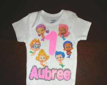 Bubble guppies birthday outfit, first birthday outfit, second birthday outfit, birthday onesie,bubble guppies birthday onesie,bubble guppies