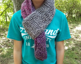 Gray, Purple, and Pink Scarf