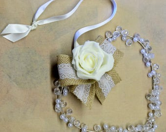 beaded Heart with faux rose
