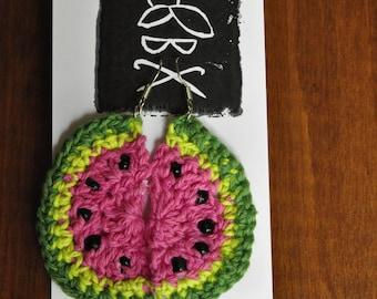 Crochet Watermelon Earrings