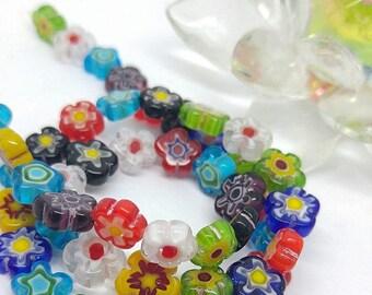 Pretty Millefiore Glass Candy Cane Glass Flower Beads / Multicolour Flowers Beads / Glass Rainbow beads /  8-10mm Flower Beads / 4 bead set