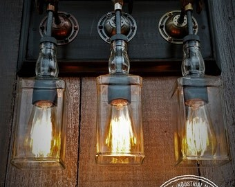 Steampunk Triple Upcycled Whiskey Bottle Wall Sconce, Wall Sconce, Industrial Lighting, Edison Lighting,Steampunk Lighting