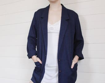 Ladies Vintage Slouchy Blazer - Linen Look - Light And Oversized - Navy Blue Retro Jacket - Womens Soft Relaxed Simple Minimal Classic
