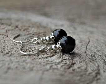 Black Tourmaline//925 Sterling Silver Earrings