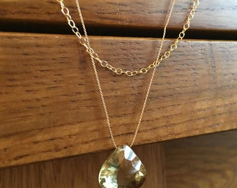 Lemon and honey quartz pendant