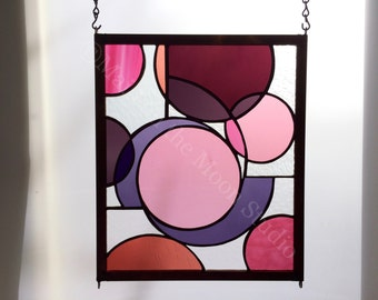 Stained Glass Panel - Abstract Pinks Panel