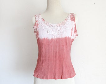 Altered Eco Dyed Top - Hand Dyed - Front Cutout Lace - Size XS - Rosy - Pinkish - Eco Dyed Top - Earthy
