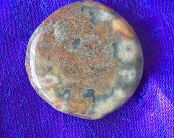Ocean Jasper! Rare Ocean Jasper Palm Stone! Green, Brown, White and Orange Colored Ocean Jasper Palm Stone with Awesome Patterns!