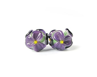 earring pair lampwork beads handmade glass bead set floral lampwork murano glass