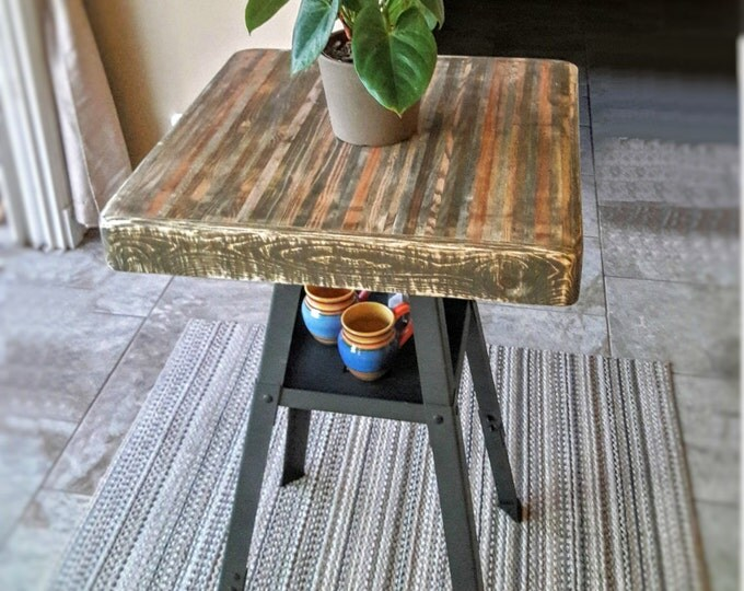 BAR HEIGHT or Custom Height Table, Industrial Reclaimed Wood w/ Lower Shelf