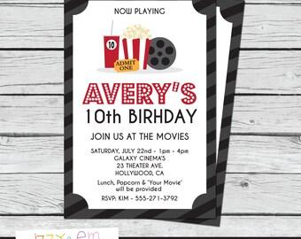 Movie Birthday Party - Movie Birthday Invitation - Movie Party Invite - Movie Ticket Birthday Invite - Printable Birthday Invitation