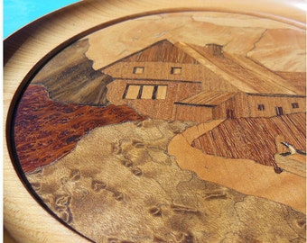 Inlaid picture of wood with a rustic motif - 50s