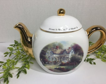 "Vintage Thomas Kinkade ""Home is Where the Heart is""  Porcelain Tea Kettle"