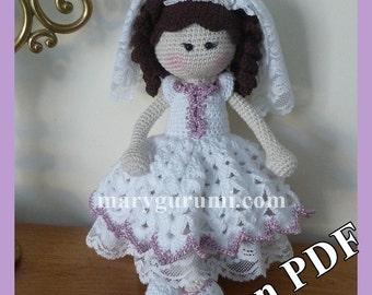 "Crochet Pattern, tutorial, pattern, Amigurumi doll, Bénédicte ""Bride"""