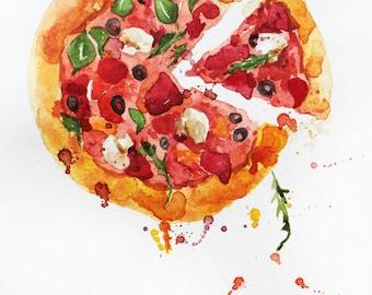 Original watercolor painting, Pizza art, food watercolor, pizza watercolor, Kitchen decor, gift for her, original art, ART OOAK