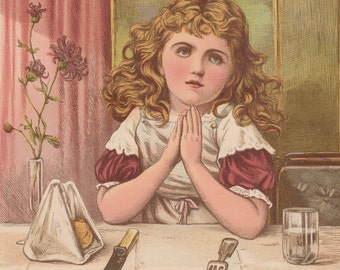 Pretty Victorian Girl Saying Grace Before Dinner Antique Lithograph Art Print 1885