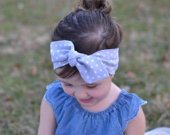 Gray Polka Dot Baby Bow, Headwrap, Baby Turban, Child's Turban, Bow Headband, Baby Headband, Hair Bow,