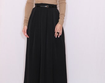 Black wool skirt Women long skirt High waisted maxi skirt with pockets
