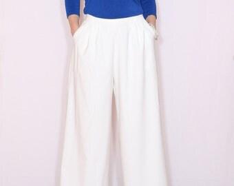 High waist Wide leg pants White pants with pockets