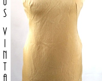 "Plus Size UK 16 Vintage 1960s Gold Silk Shift Wiggle Dress Mad Men Mod  EU 44 US 12 Bust 42"" 107cm"