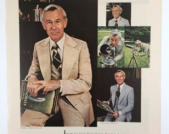 Magazine Advertisement, Johnny Carson Apparel, 1970s, Vintage Men's Fashion Ad, Astronomy Ad, Original Ad, Office or Den Wall Art