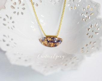 Resin Necklace, Gold Leaf Pendant, Blue Moss Pendant, Moss Necklace,  Biology Jewelry, Gold Leaf Necklace, Blue And Gold, Resin Jewellery