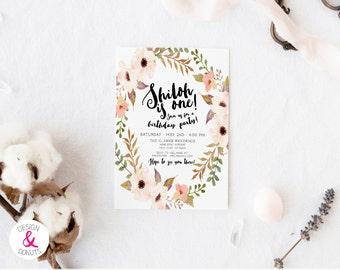 Boho Girl Birthday Invitation, Flowers, Peony, First Birthday, 2nd, Printable, Digital [218g]