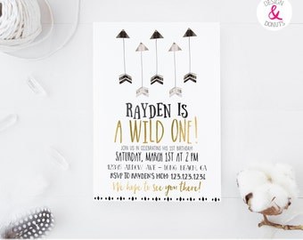 Wild One Birthday Invitation, Boy, Printable, Arrow, Tribal  [464]