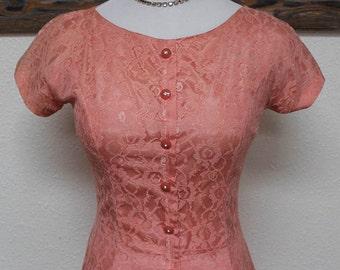 50's Vintage Pink Lace Drop-Waist Evening/Party Dress