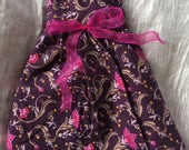 Dress for Blythe sized doll, Sleeveless, Burgandy Floral, Midi-Length Dress with Fuscua Ribbon for Blythe and Similar Dolls