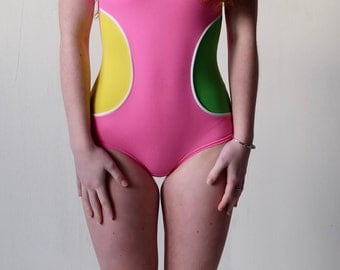 Vintage Mod Bathing SwimSuit, Swimwear, 1960s Yellow, Pink Green Vintage Fabric, 60s, Bodysuit, Leotard,Costume, Dance,