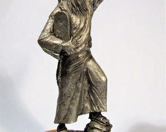 Moses with Ten Commandments Pewter Sculpture by Michael Ricker Limited Edition Judaica Art Metal Statue
