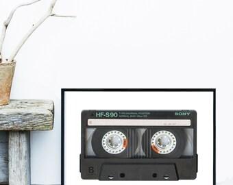Printable Art, Cassette Print, Retro Art, Vintage Poster, Music Tape, Home decor, Wall Decor, Instant Download