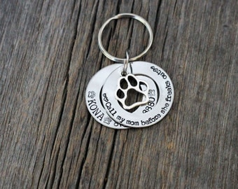 hand stamped washer style stainless steel 2 layer dog tag / call my mom before she freaks out / personalized / dog tags for dogs