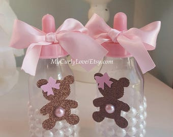 12 Teddy Bear Girl Baby Bottles/Teddy Bear Girl Baby Shower Bottles/Teddy Bear Baby Shower Bottle Favors/Girl Baby Shower Bottle Favors