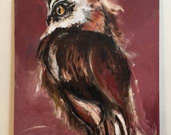 Original Owl Painting on a Wood Panel Large Owl Art