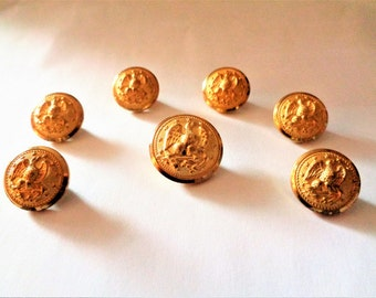 Eagle Stars Gold Metal Buttons, Military Buttons, Navy Uniform Buttons, Eagle, Anchor & Stars
