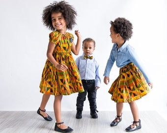African Kente Sibling Set, Boys Bow Tie, Girls Matching Outfits, Kente Dress, Peasant Dress, African Baby Clothes