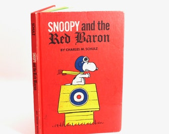 "Vintage 1966 ""Snoopy and the Red Baron"" book by Charles M. Schulz - hardcover, Peanuts, Snoopy, Charlie Brown, first edition!"