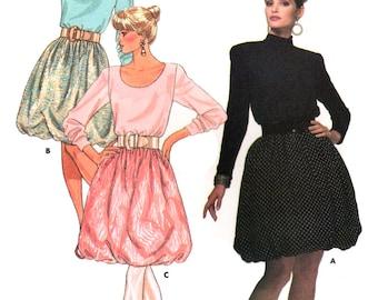 80s Butterick 5868 David Warren Retro Bubble Skirt Dress with Neckline Variations, Uncut, Factory Folded, Sewing Pattern Size 6-10