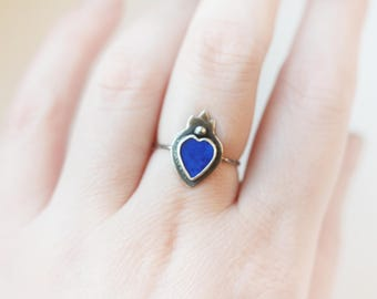 Royal Lapis Lazuli Sacred Heart CUSTOM SIZE and brass or copper or sterling silver ring, royal blue lapis, deep blue, flaming heart