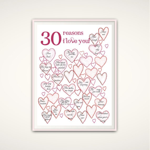 30th Birthday Print Unique 30th Birthday Gift By