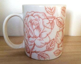 Dusky pink rose mug